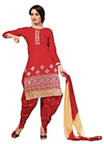 Golden girl red colour cottan unstiched dress material