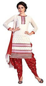 Golden girl white red colour cottan unstiched dress material