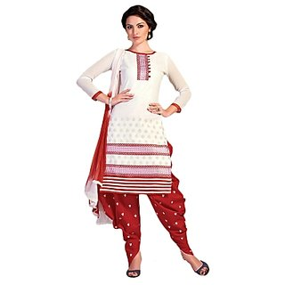 Buy Golden Girl White Red Colour Cottan Unstiched Dress Material