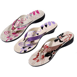 IndiWeaves Womens Pink  Purple  Red Casual Slippers (Pack of 3 Pair) (870070814-IW)