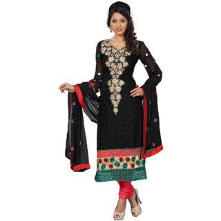 Fabdeal Black Colored Georgette Embroidered Salwar Kameez FPRDRK1244RV