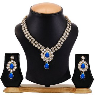 Mukawil Blue Kundan Necklace Set With Pair Of European Fashion Earrings