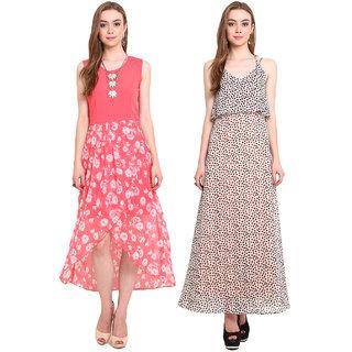 Desi Urban Multicolor Georgette Printed Round Neck Dress (Set of 2)