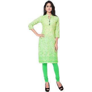 Triveni Green Printed Cotton Unstitched Kurti