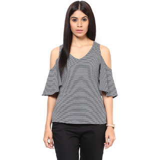 ee7ee24a7a57f Buy Hypernation Striped Women Cold Shoulder Top Online - Get 34% Off