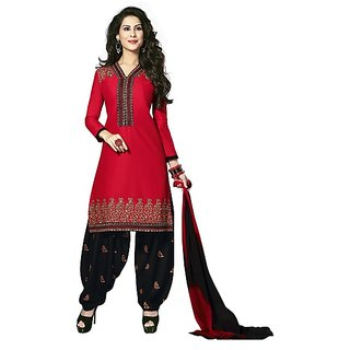 Stylish Red Unstitched Salwar Suit Dress Material For Women