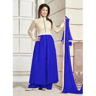 Fabfirki Heena Khan Designer New Blue And White Salwar Suit
