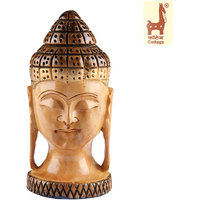 Kadam Wood Handicrafts Rajasthan Budha Head Carved Kadam Wood
