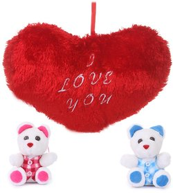 Deals India Valentine Gift Heart With 2 Cute Teddy Combo Cushions