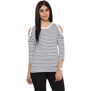 Hypernation Striped Women Cold Shoulder T-shirt