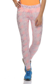 Clovia Peach Polyamide Spandex Floral Stretchy High Rise Tight (AT0016P16)