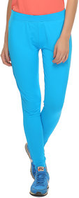 Clovia Blue Polyamide Spandex Solid Stretchy High Rise Tight (AT0020P03)