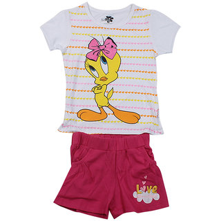 9c9b35682cf124 Buy Tweety Toddler Girls Half sleeve T- Shirt shorts set - White   Hot Pink  (5 - 6 Years) Online   ₹699 from ShopClues