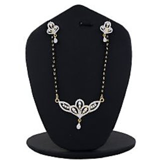 Anuradha Art Golden Tone Stylish American Diamond Studded Mangalsutra Set For Women