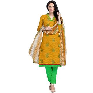 Khushali Presents Embroidered Lakda Jacquard Dress Material (Dark Yellow,Light green)