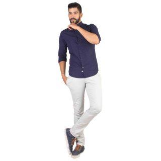 POE GRAHAM Navy Blue 100 Cotton Full sleeves Men Shirts
