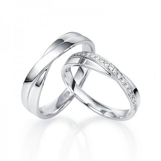 c7287883e88b1 RM Jewellers CZ 92.5 Sterling Silver American Diamond Lovely Couple Band  For Men and Women