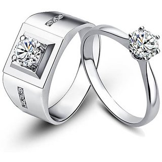 RM Jewellers CZ 92.5 Sterling Silver American Diamond Princess Stylsih Couple Rings For Men and Women