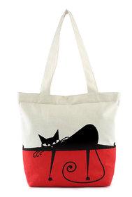 Vivinkaa White cat Printed Tote