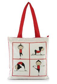 Vivinkaa Multi Yoga Printed Tote Bag With Zip for Women