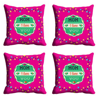 meSleep Pink Love You Mom Mothers Day Cushion Cover (16x16)