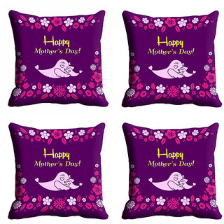meSleep Purple Happy Mothers Day Cushion Cover (16x16)