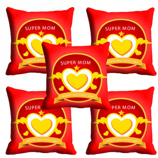 meSleep Red Super Mom Mothers Day Cushion Cover (16x16)