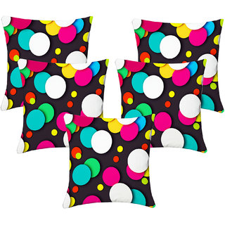 Lushomes Digital Print Round Design Cushion Covers (Pack of 5)