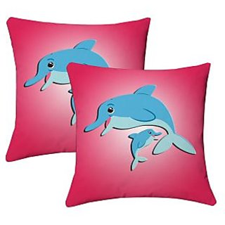 Lushomes Kids Digital Print Dolphins Cushion Covers (Pack of 2)