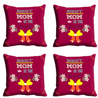meSleep Best Mom In The World Mothers Day Cushion Cover (16x16)