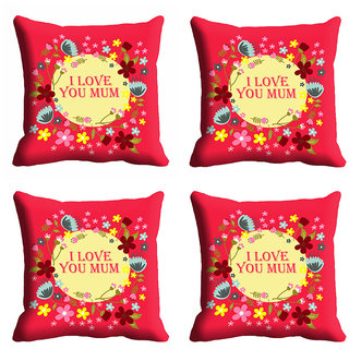 meSleep I Love U Mom Mothers Day Cushion Cover (16x16)