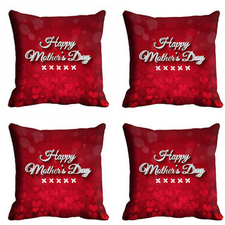 meSleep Red Happy Mothers Day Cushion Cover (16x16)