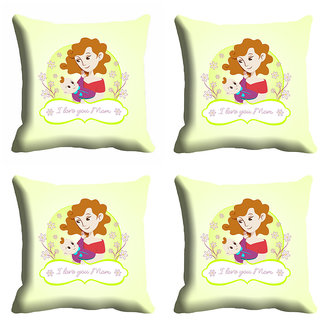 meSleep White Happy Mothers Day Cushion Cover (16x16)