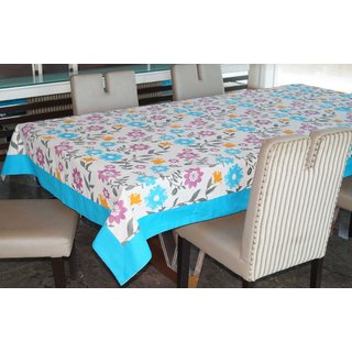 Lushomes 6 Seater  Ragular Flower Printed Table Cloth