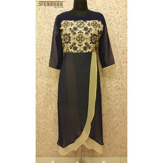 Aavarnam By Renu - Blue Embroidered Layered Maxi Dress