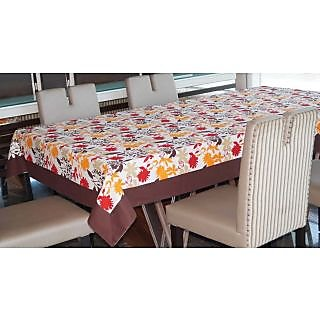Lushomes 12 Seater Leaf Printed Table Cloth