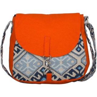 Vivinkaa Orange Printed Handbag