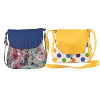 Vivinkaa Yellow Printed Handbags