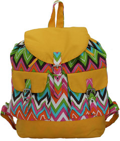 Vivinkaa Ochre Yellow Canvas Backpack for Women