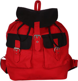 Vivinkaa Red Black Canvas Backpack for Women