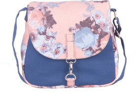 Vivinkaa Pink Floral Canvas Sling Bag for Women