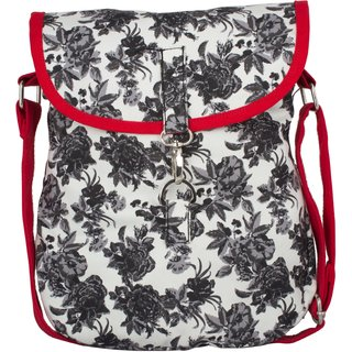 Vivinkaa Black Rose Canvas Sling Bag for Women