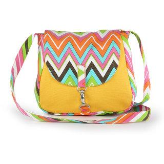Vivinkaa Yellow Ochre Printed Handbag