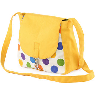 a6da7c1d6b77e Buy Vivinkaa Yellow Polka Canvas Sling Bag for Women Online - Get 67% Off