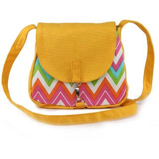 Vivinkaa Yellow Ochre Canvas Sling Bag for Women