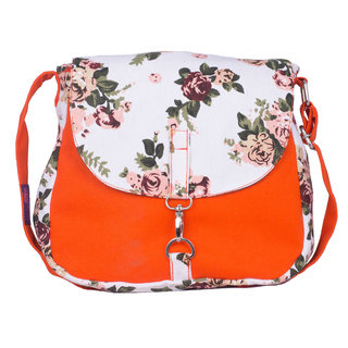 Vivinkaa Floral Orange Canvas Sling Bag for Women