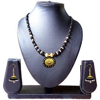 Beautiful  Black and Gold Necklace and Earring Set 1028