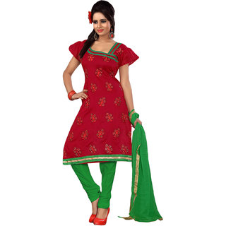 Manvaa Red color Poly Cotton Straight Suit Border Work Dress Material