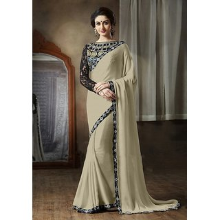 Onlinefayda Beige Lace Border Work Georgette Desinger Saree