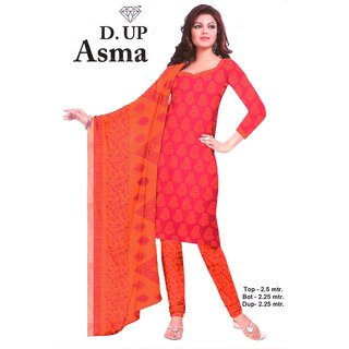 TanishkaUnstitched Printed Cotton Dress Material Orange Suit with Pink Salwar  Dupatta